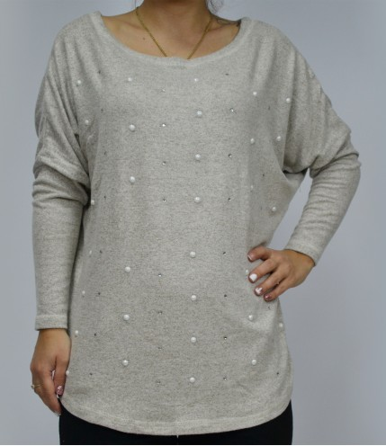 Дамска блуза с дълъг ръкав и мъниста