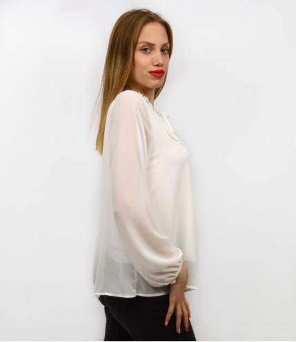 Блуза шифон с дантела