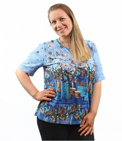 Дамска многоцветна блуза с катарамка макси