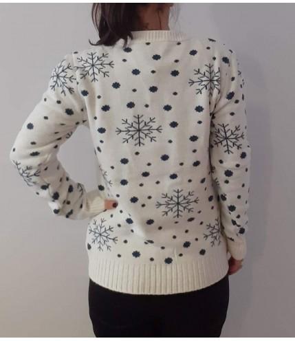 Коледна блузка на снежинки с мече