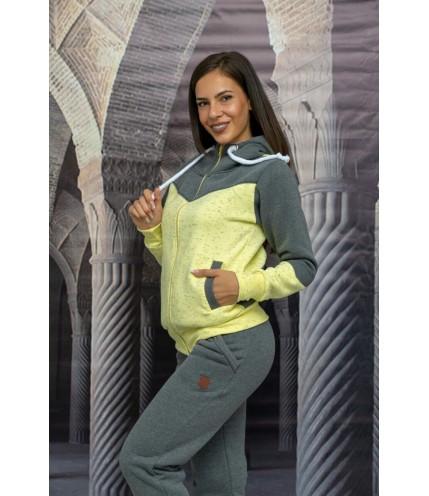 Дамски спортен двуцветен комплект триконечна вата