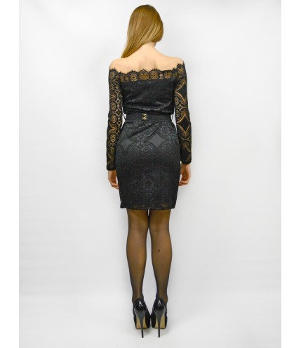 Дантелена рокля с колан