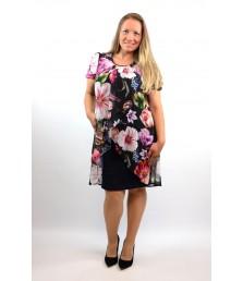 Елегантна рокля ластично трико с шифон на цветя-1320-01