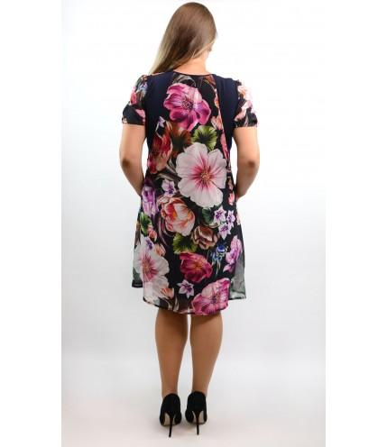 Елегантна рокля ластично трико с шифон на цветя