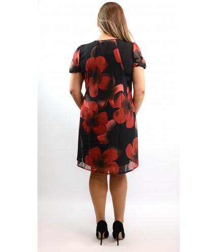 Елегантна рокля ластично трико с шифон на цветя-1320-02