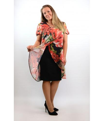 Елегантна рокля ластично трико с шифон на цветя-1320-03