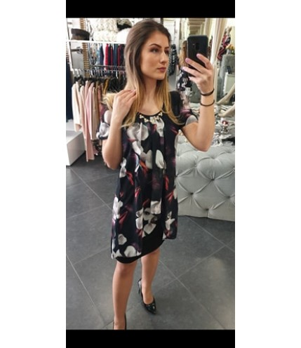 Елегантна рокля ластично трико с шифон на цветя-1320-04