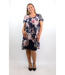 Елегантна рокля ластично трико с шифон на цветя-1320-05