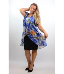 Елегантна рокля ластично трико с шифон на цветя-1320-06