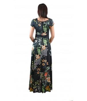 Дълга рокля с панделка на рамото