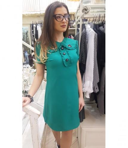 Елегантна Дамска рокля с Ефектна Яка - Българска