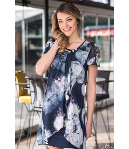 Елегантна рокля ластично трико с шифон на цветя-1320-11
