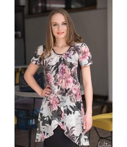 Елегантна рокля ластично трико с шифон на цветя-1320-13