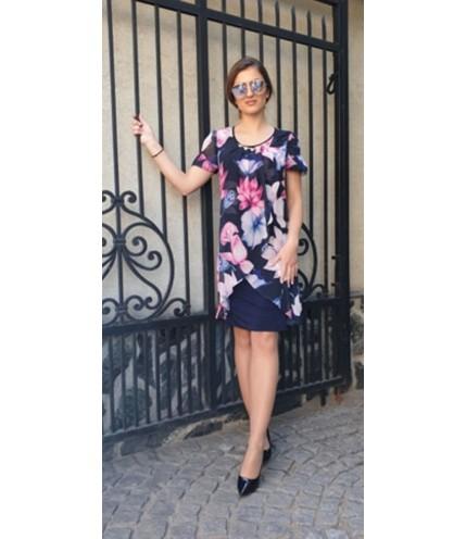 Елегантна рокля ластично трико с шифон на цветя-1320-14