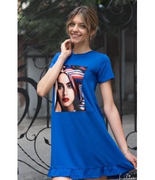 Елегантна дамска рокля с къдри-2