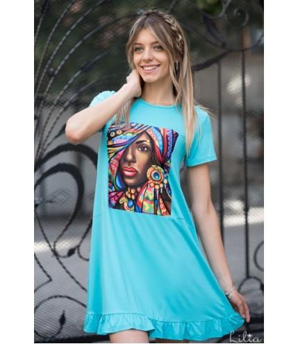 Елегантна дамска рокля с къдри-4