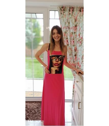 Елегантна дълга дамска рокля с картина
