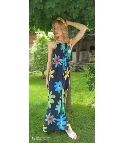 Дълга уникална рокля от шифон
