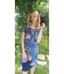 Елегантна рокля ластично трико с шифон на цветя-1320-15