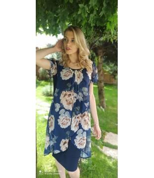 Елегантна рокля ластично трико с шифон на цветя-1320-17