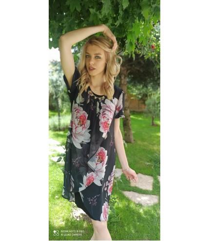 Елегантна рокля ластично трико с шифон на цветя-1320-18