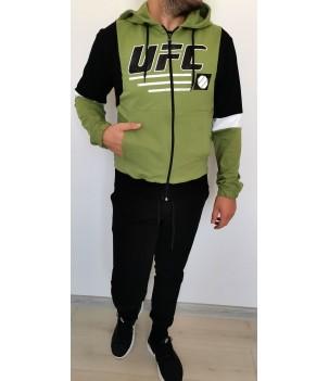 """Mъжки спортен комплект с качулка """"UFC"""" - трицветен ръкав - българско производство"""