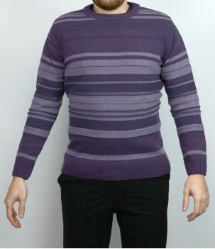 Мъжки пуловер райе Агнешка Вълна Българско производство