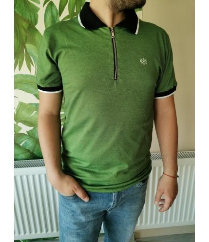 Мъжка спортна риза с яка и цип