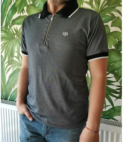 Мъжка спортна риза с яка и цип-макси