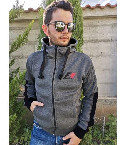 """Мъжки суичър """"Formula 1"""" с качулка триконечна вата - българско производство"""