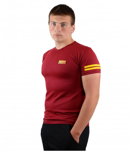 Мъжка тениска с къс ръкав с бод деколте