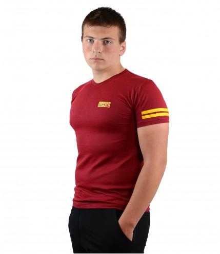 Мъжка тениска с къс ръкав с бод деколте гигант