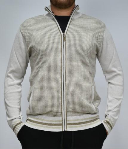 Мъжка плетена жилетка с цип